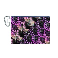 Hippy Fractal Spiral Stacks Canvas Cosmetic Bag (Medium)