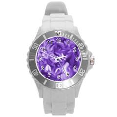 Lavender Smoke Swirls Plastic Sport Watch (large)