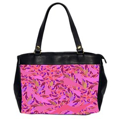 Bright Pink Confetti Storm Oversize Office Handbag (two Sides)