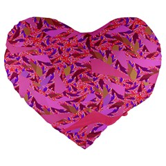 Bright Pink Confetti Storm Large 19  Premium Flano Heart Shape Cushion