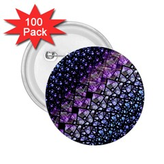 Dusk Blue And Purple Fractal 2 25  Button (100 Pack)