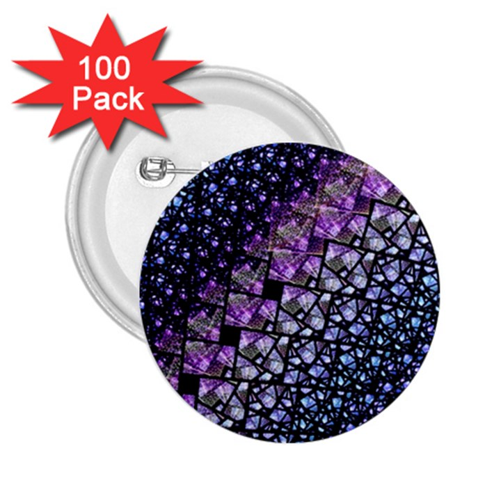 Dusk Blue and Purple Fractal 2.25  Button (100 pack)