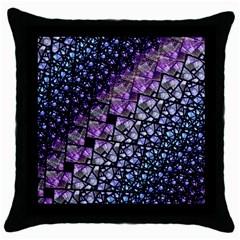 Dusk Blue And Purple Fractal Black Throw Pillow Case