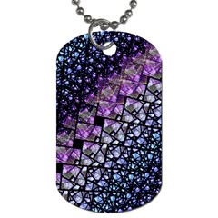 Dusk Blue And Purple Fractal Dog Tag (one Sided)