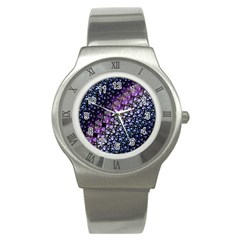 Dusk Blue And Purple Fractal Stainless Steel Watch (slim)