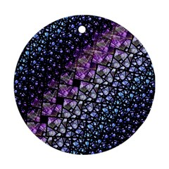 Dusk Blue And Purple Fractal Round Ornament (two Sides)