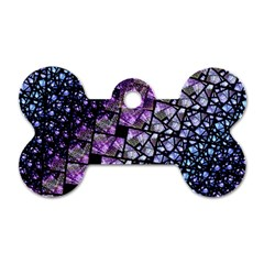 Dusk Blue And Purple Fractal Dog Tag Bone (two Sided)