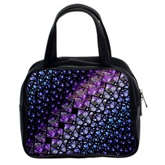 Dusk Blue And Purple Fractal Classic Handbag (two Sides)