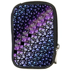 Dusk Blue And Purple Fractal Compact Camera Leather Case