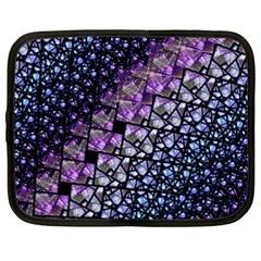 Dusk Blue And Purple Fractal Netbook Sleeve (xxl)