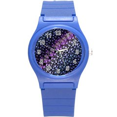 Dusk Blue And Purple Fractal Plastic Sport Watch (small)