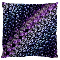 Dusk Blue and Purple Fractal Large Flano Cushion Case (One Side)