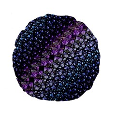 Dusk Blue and Purple Fractal Standard 15  Premium Flano Round Cushion