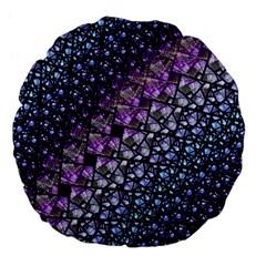 Dusk Blue and Purple Fractal Large 18  Premium Flano Round Cushion
