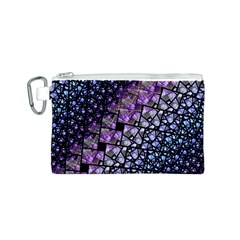 Dusk Blue And Purple Fractal Canvas Cosmetic Bag (small)