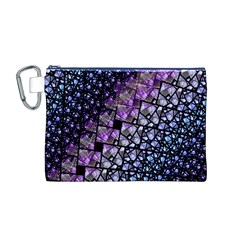 Dusk Blue and Purple Fractal Canvas Cosmetic Bag (Medium)