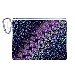 Dusk Blue and Purple Fractal Canvas Cosmetic Bag (Large)