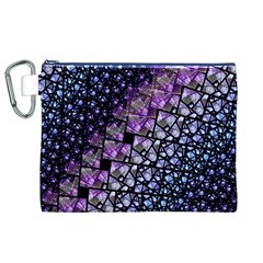Dusk Blue and Purple Fractal Canvas Cosmetic Bag (XL)