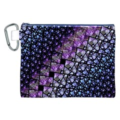 Dusk Blue and Purple Fractal Canvas Cosmetic Bag (XXL)