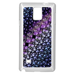 Dusk Blue and Purple Fractal Samsung Galaxy Note 4 Case (White)