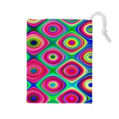 Psychedelic Checker Board Drawstring Pouch (Large)