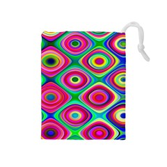 Psychedelic Checker Board Drawstring Pouch (Medium)