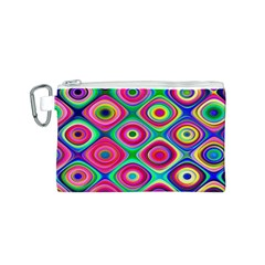 Psychedelic Checker Board Canvas Cosmetic Bag (small)