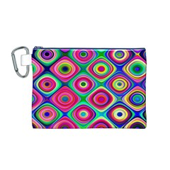 Psychedelic Checker Board Canvas Cosmetic Bag (Medium)