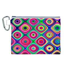 Psychedelic Checker Board Canvas Cosmetic Bag (Large)