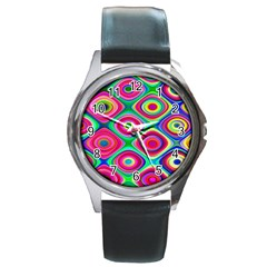 Psychedelic Checker Board Round Leather Watch (silver Rim)