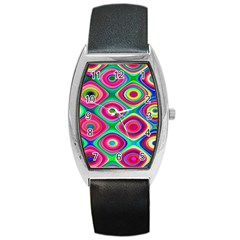 Psychedelic Checker Board Tonneau Leather Watch