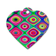 Psychedelic Checker Board Dog Tag Heart (one Sided)