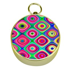 Psychedelic Checker Board Gold Compass