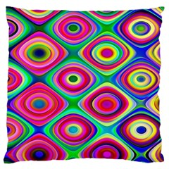 Psychedelic Checker Board Large Flano Cushion Case (two Sides)