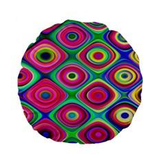 Psychedelic Checker Board Standard 15  Premium Flano Round Cushion
