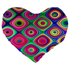 Psychedelic Checker Board Large 19  Premium Flano Heart Shape Cushion