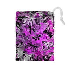 Butterfly Graffiti Drawstring Pouch (Large)