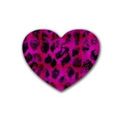 Pink Leopard Drink Coasters (heart)