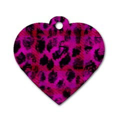 Pink Leopard Dog Tag Heart (one Sided)