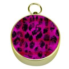 Pink Leopard Gold Compass