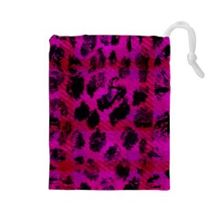 Pink Leopard Drawstring Pouch (Large)