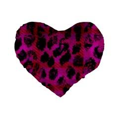 Pink Leopard Standard 16  Premium Flano Heart Shape Cushion
