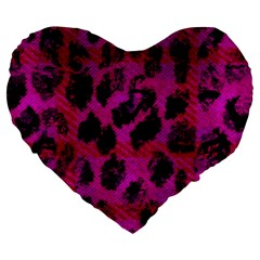 Pink Leopard Large 19  Premium Flano Heart Shape Cushion