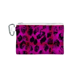 Pink Leopard Canvas Cosmetic Bag (Small)