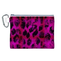 Pink Leopard Canvas Cosmetic Bag (Large)