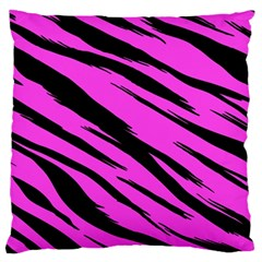 Pink Tiger Large Flano Cushion Case (One Side)