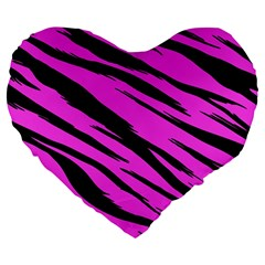 Pink Tiger Large 19  Premium Flano Heart Shape Cushion