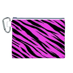 Pink Tiger Canvas Cosmetic Bag (large)