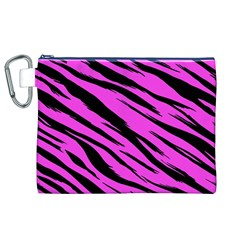 Pink Tiger Canvas Cosmetic Bag (XL)