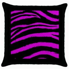 Pink Zebra Black Throw Pillow Case